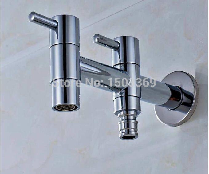 Brass Double Holder Dual Hole Garden Faucet Brief bib-cock faucet ...