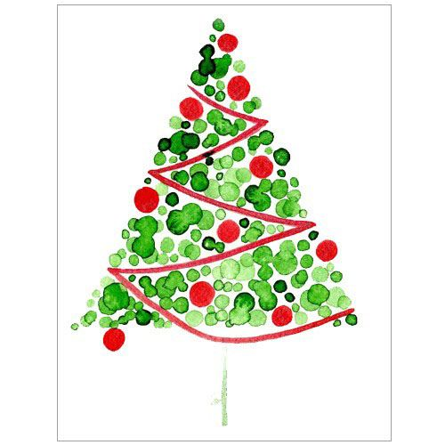 Red Christmas Tree Card, ORIGINAL Watercolor