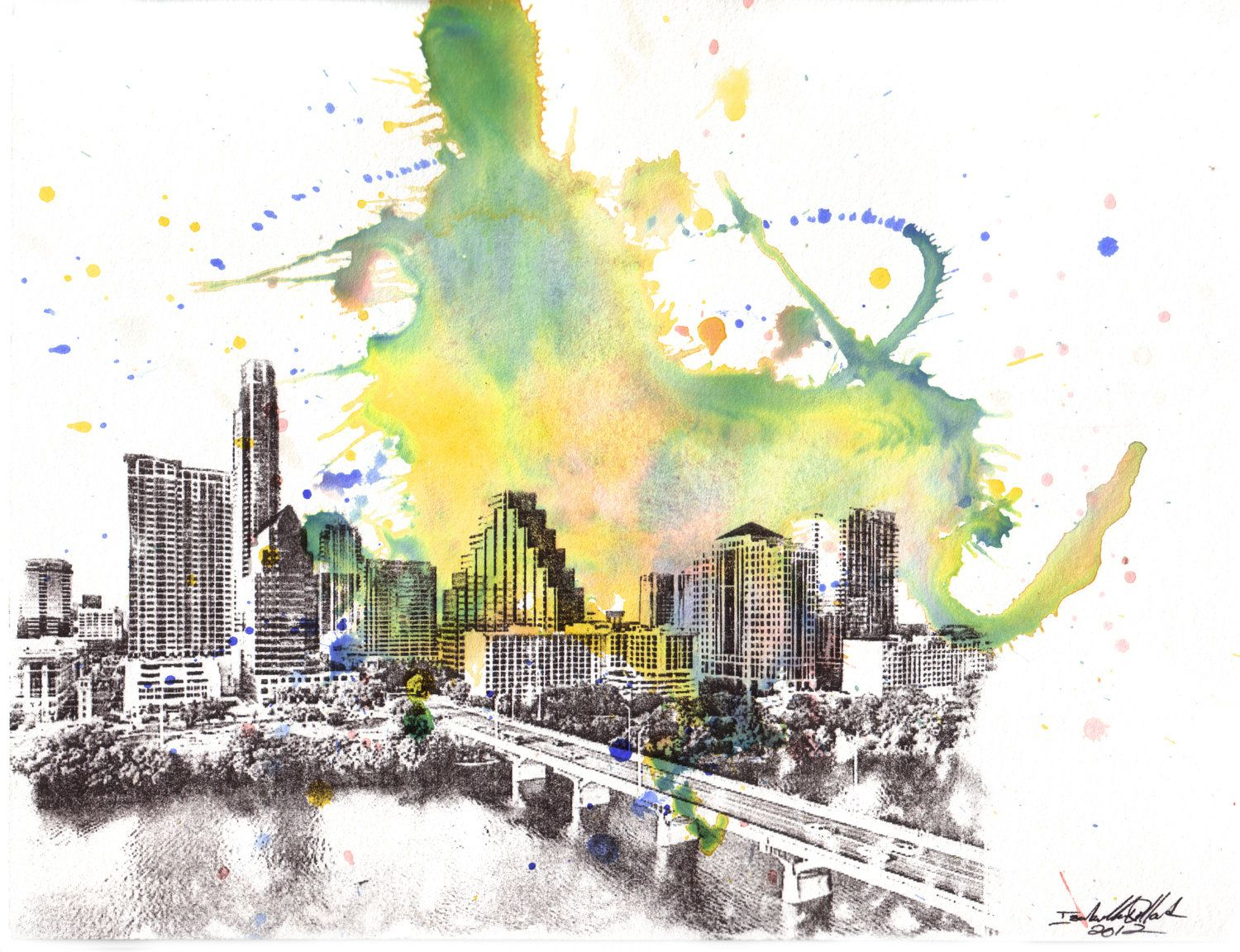 Austin Texas Cityscape Skyline Abstract Landscape Art Print From ...