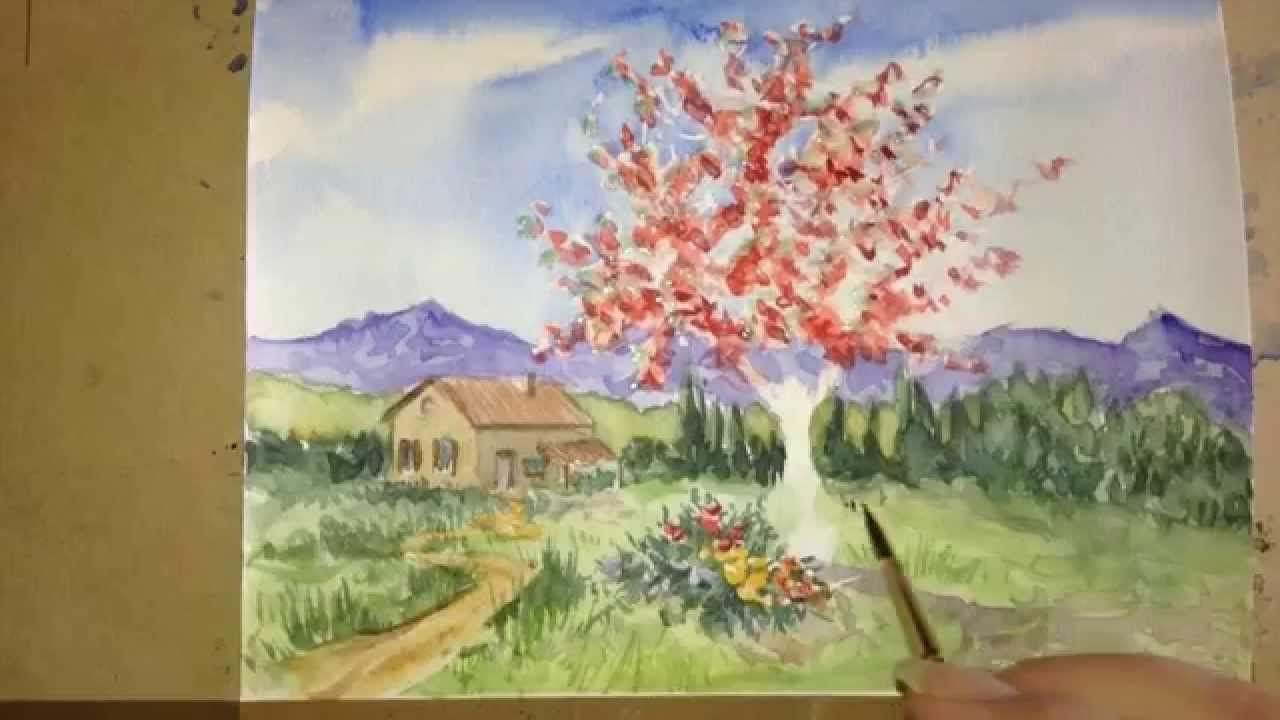 Drawing Gum Et Arbre En Fleur A L Aquarelle Aquazine 4 Fleurs A
