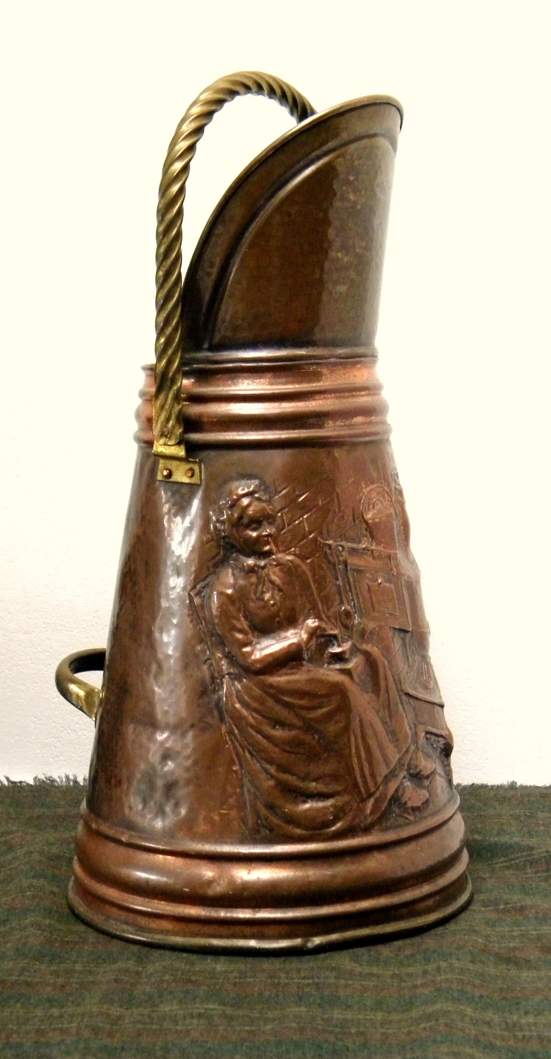 This Is A Wonderful Coal Scuttle,Hand Made In Hammered Copper,