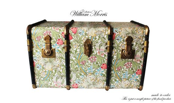 Exclusive William Morris Wallpaper Steamer Trunk Coffee