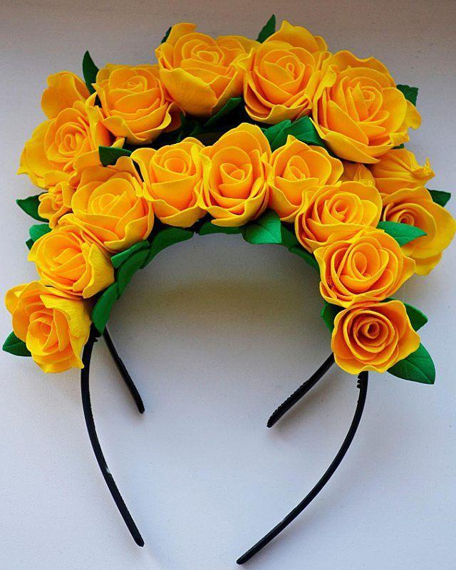 Yellow roses headband  921553da4d6
