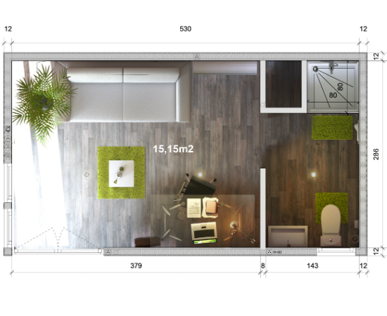 configurateur greenkub gk15 de 15 m plan studio greenkub bureau de jardin studio home. Black Bedroom Furniture Sets. Home Design Ideas