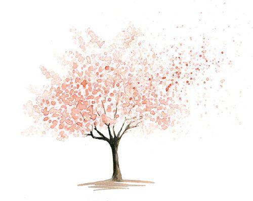 Watercolour Blossom Tree Arbres En Aquarelle Art De La Couleur