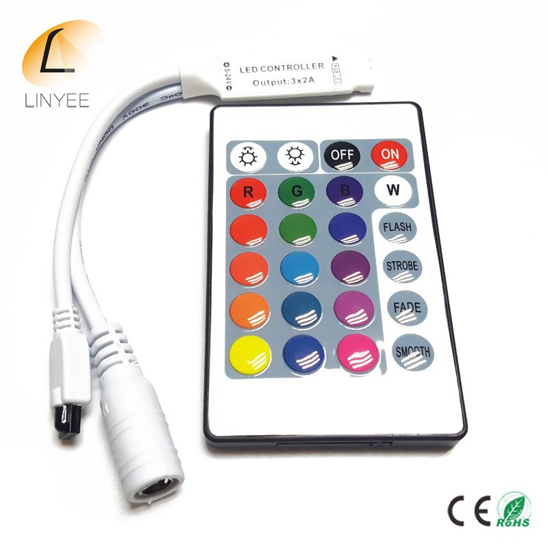 Dc12v 24key Mini Kontroler Rgb Pilot Na Podczerwien Z Mini Sciemniacz Dla 5050 3528 Doprowadzily Swiatla Ta Light Accessories Led Strip Lighting Led Controller