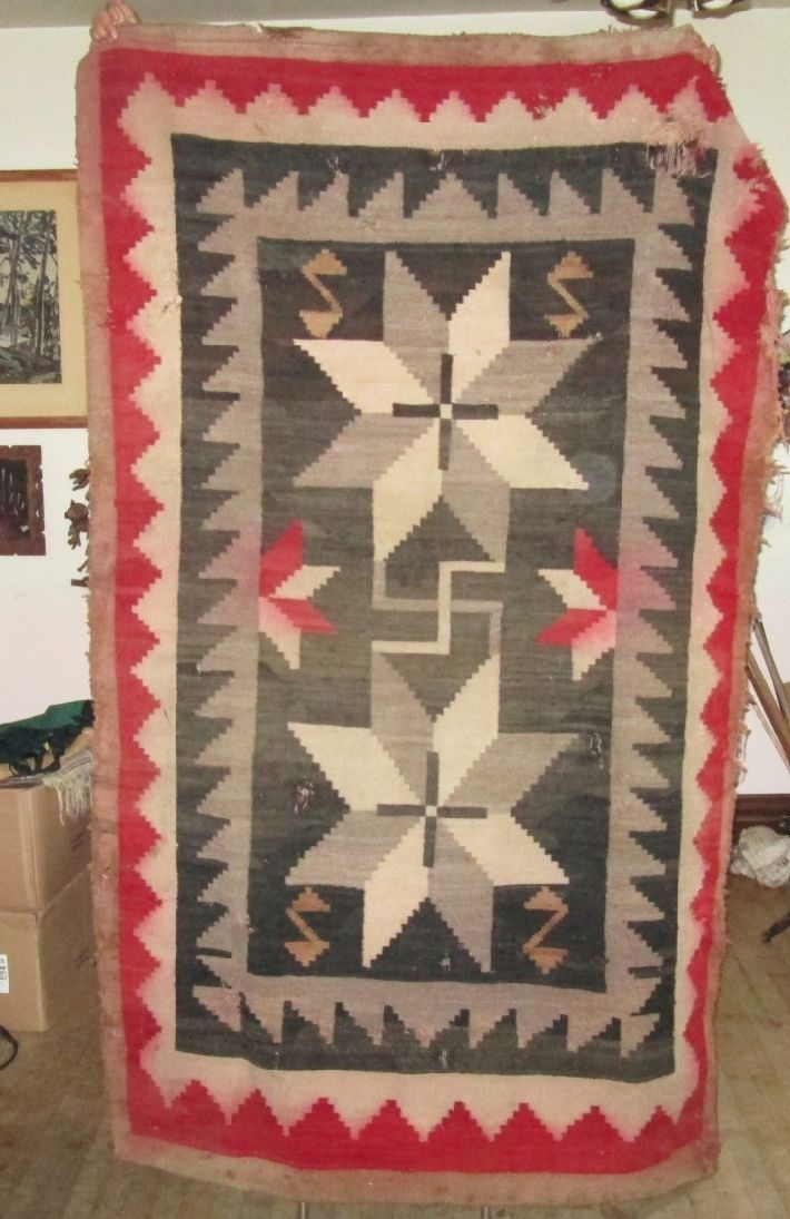 Vintage Native Navajo Rug Rolling Log Indian Blanket Stars Crosses Nr99 Ebay
