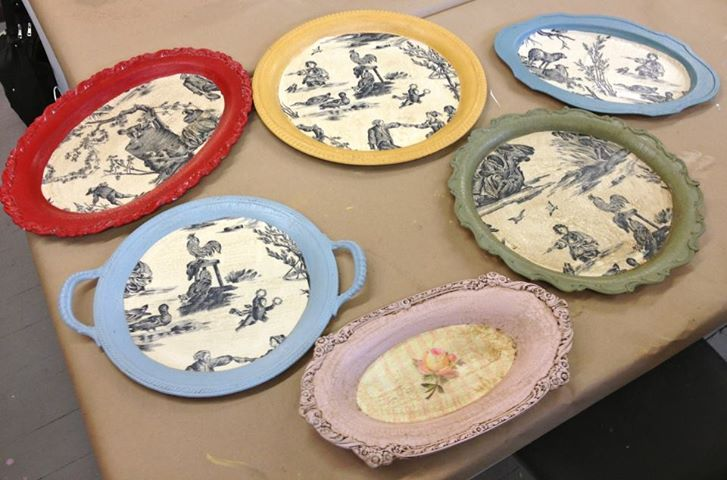Pin By Kris Myers On Furniture Painted Trays Silver Trays Thrift Store Decor