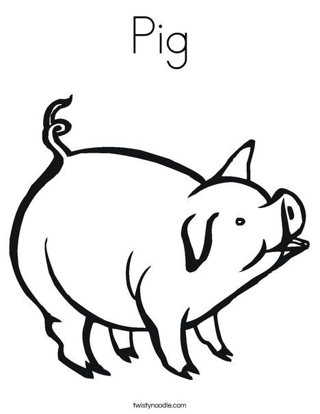 pig coloring page from twistynoodlecom