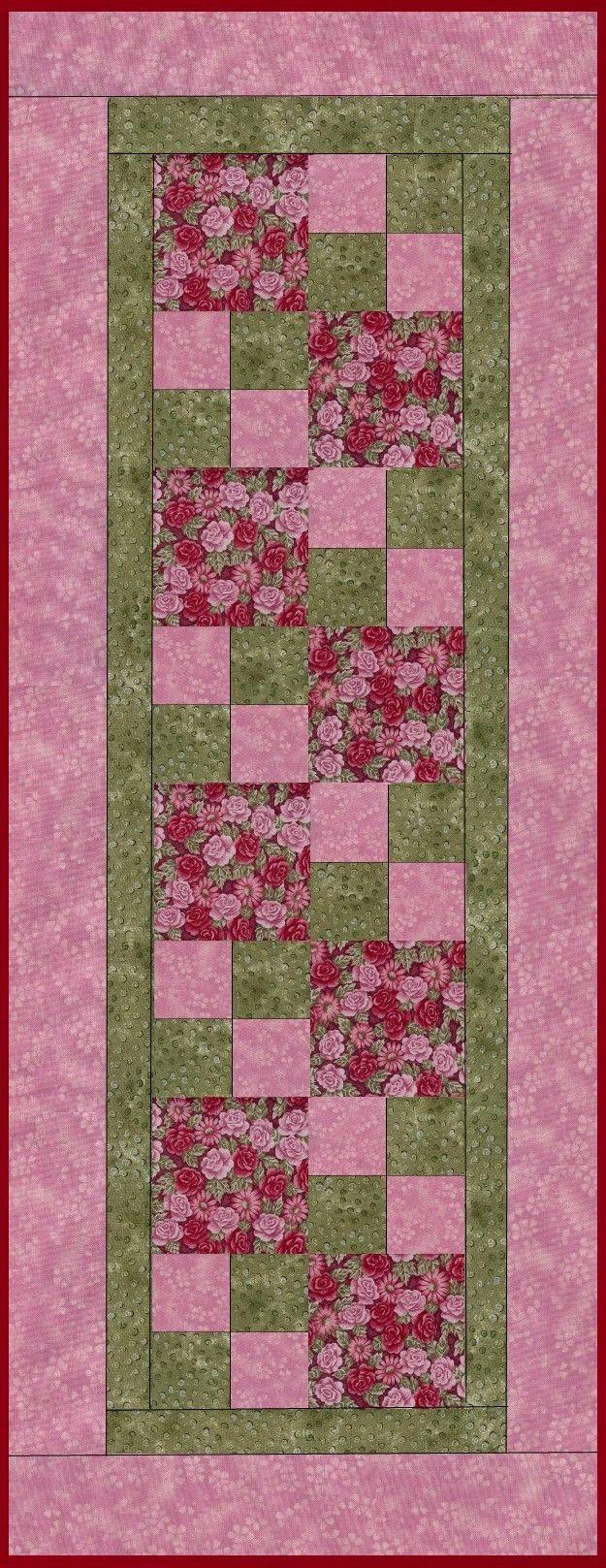 Zen Rose Allover Pre-Cut Table Runner Kit | Quilt Patterns ... : quilted table runner kits - Adamdwight.com