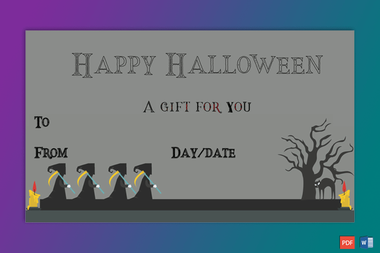 Halloween Gift Certificate Grim Sample Gift Certificate Template Halloween Gifts Printable Gift Certificate