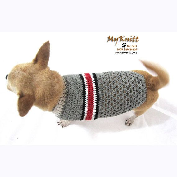 Pet Clothes Cat Shirt Dog Clothing Grey Crochet Knit by myknitt ...
