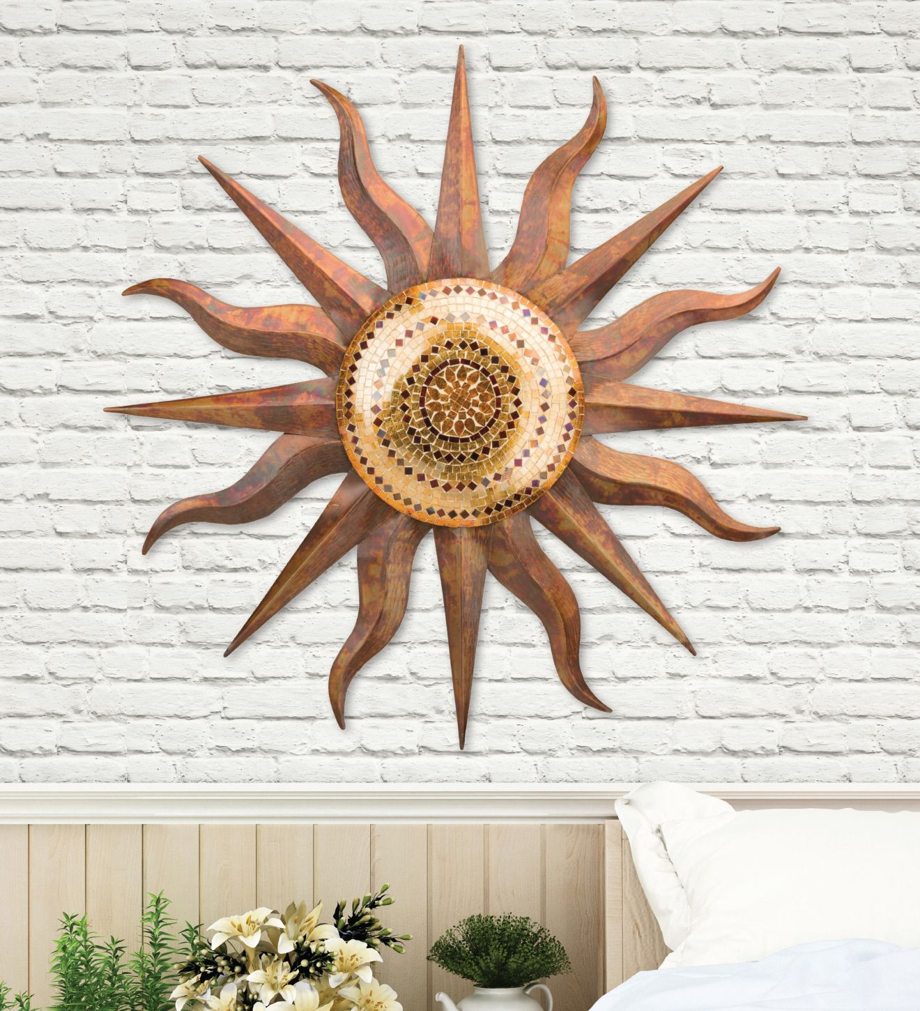 mosaic copper metal and glass sun indoor outdoor wall on wall paintings id=61967