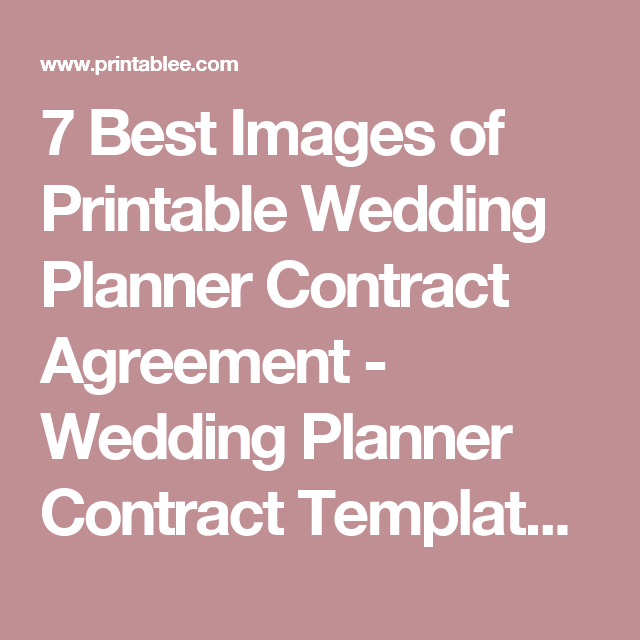 7 Best Images Of Printable Wedding Planner Contract
