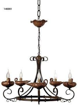 Lampara rustica de techo 5 luces lamparas rusticas - Lamparas y apliques rusticos ...