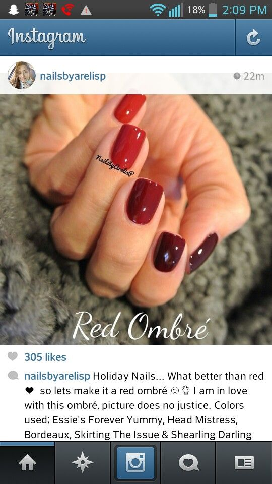 Essie Red Ombre Nails Found It On Instagram I Just Had To Screenshot And Post Soo Beautiful All Five Nail Polish Col Holiday Nails Nails Essie Forever Yummy