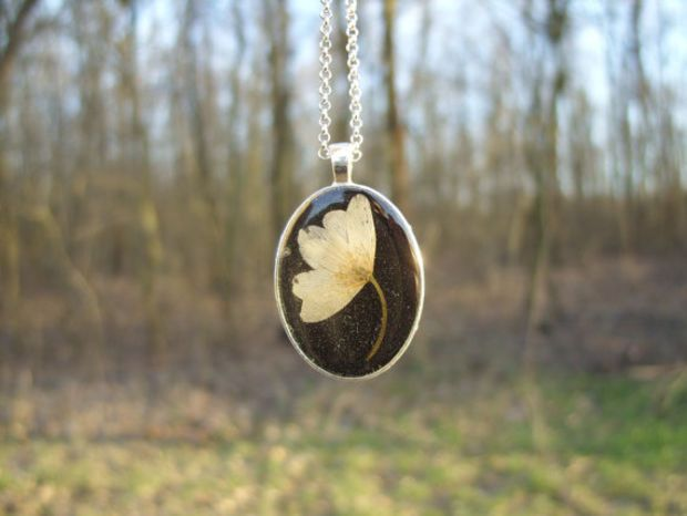 Real Flower Necklace Wood Anemone Flower Pressed Flower Jewelry Botanical Jewelry Nature Inspired Nec Flower Jewellery Botanical Jewelry Anemone Flower