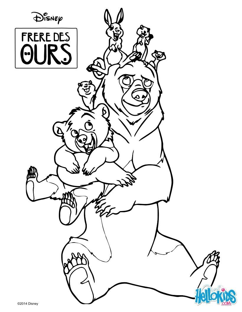 Coloring Page Of The Disney Movie Brother Bear Color This Bears With All His Little Friends Nice Drawin Bear Coloring Pages Horse Coloring Pages Brother Bear