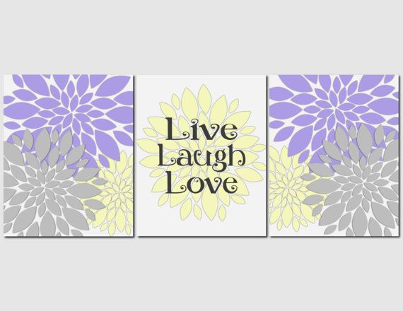 Items Similar To Live Laugh Love Yellow Gray Purple Wall Art Flower Burst Floral Kitchen Bedroom Spa Bathroom Flowers Peony Set Of 3 Prints