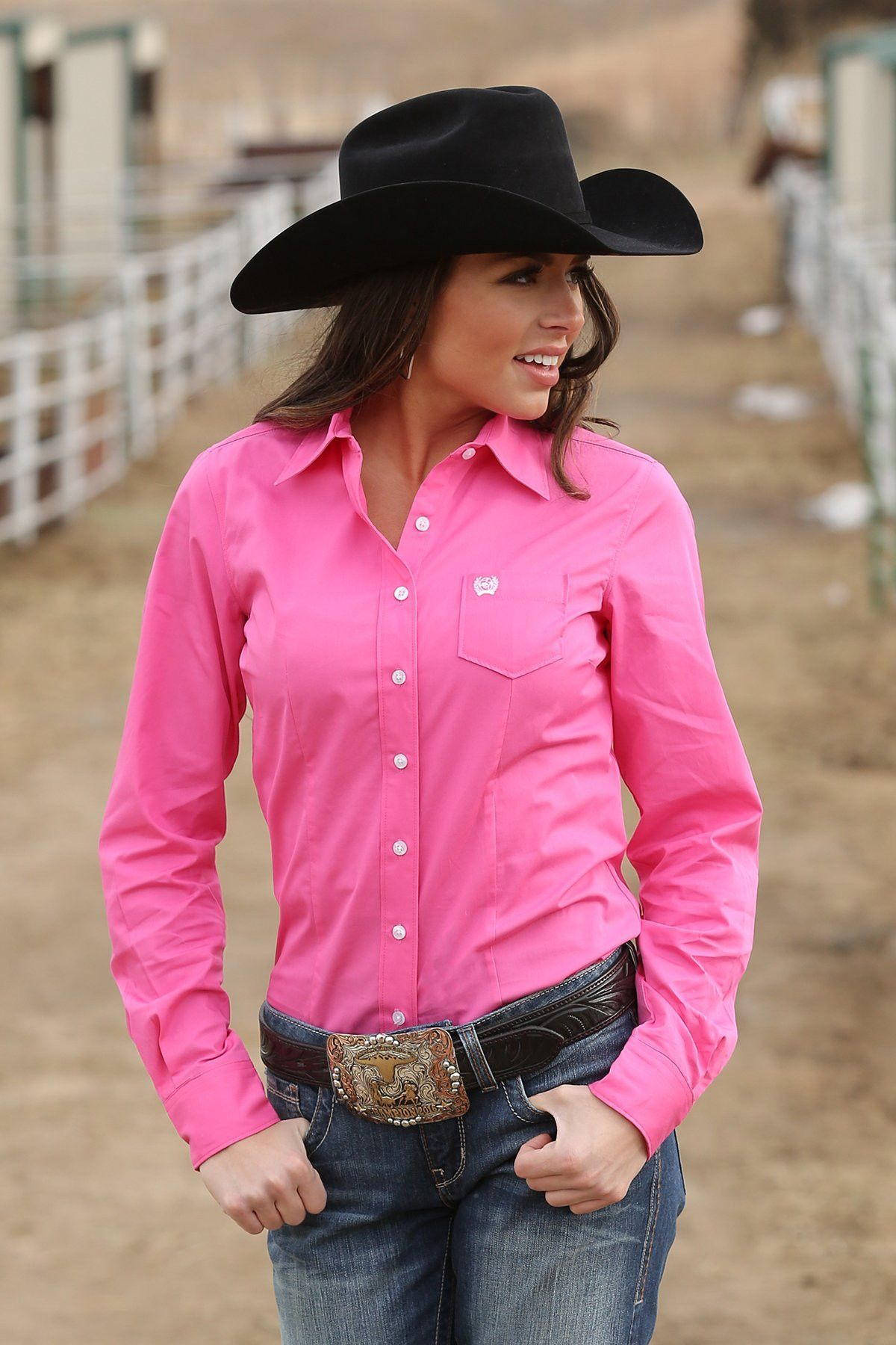 Cinch Women\'s Long Sleeve Solid Button Down Shirt - Pink- MSW9164033 ...