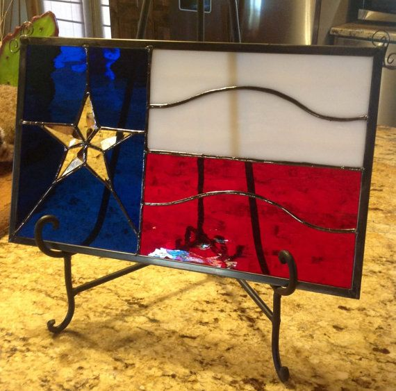 Leaded Stained glass Texas flag with beveled star