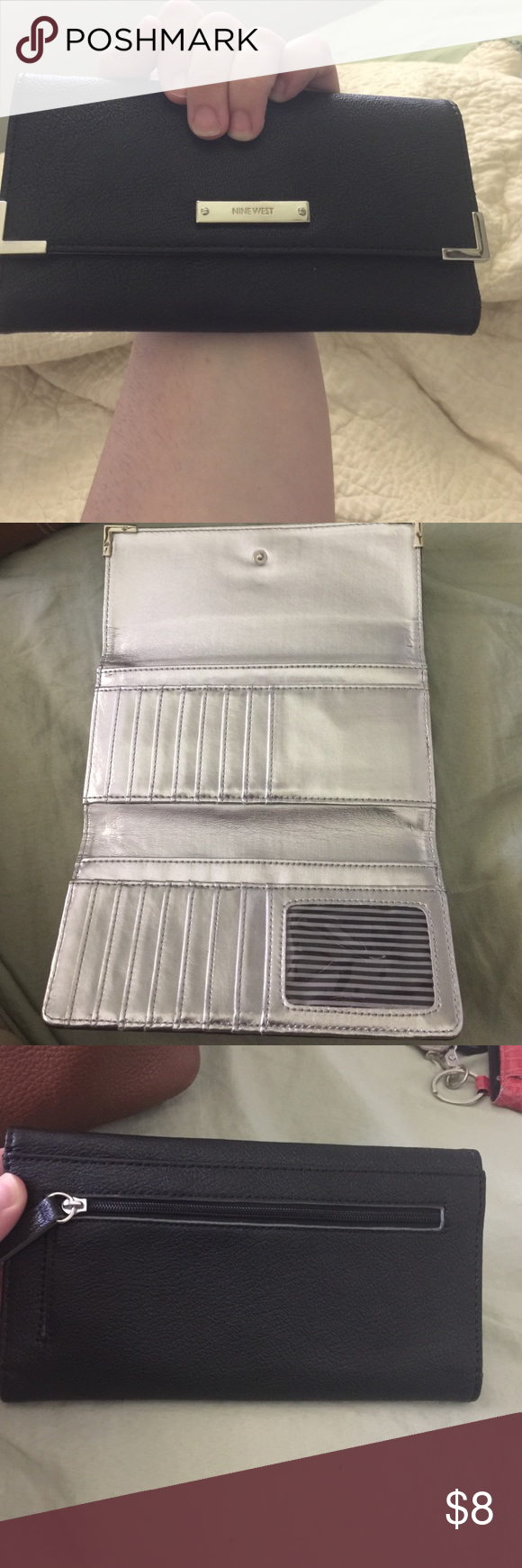Nine West Wallet Brand New! Nine West black wallet! It's beautiful with the silver accents on the outside and then silver interior and strips. Measurements: 7 1/2 long by 3 7/8 inches tall. 💄Price FIRM unless bundled💄 Nine West Bags Wallets