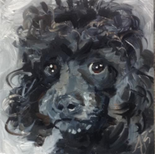 black brown original oil painting dog unframed 8 x 10 inches Animal poodle