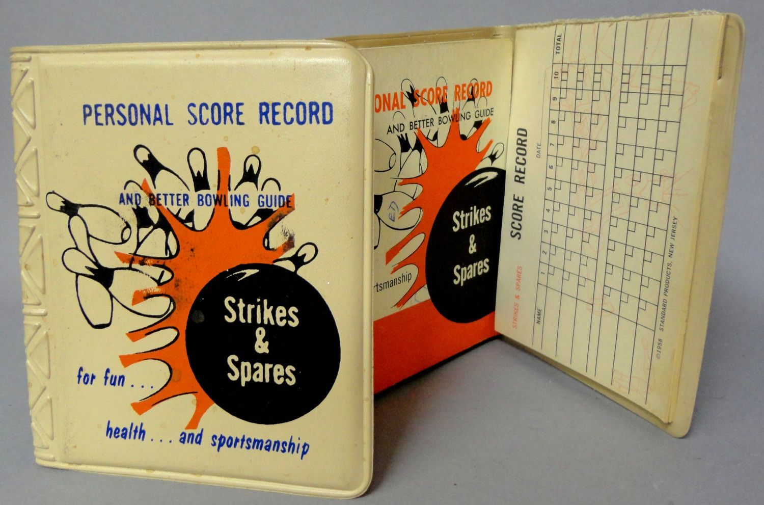 """BOWLING 50's """"Strikes & Spares"""" Personal Score Record"""