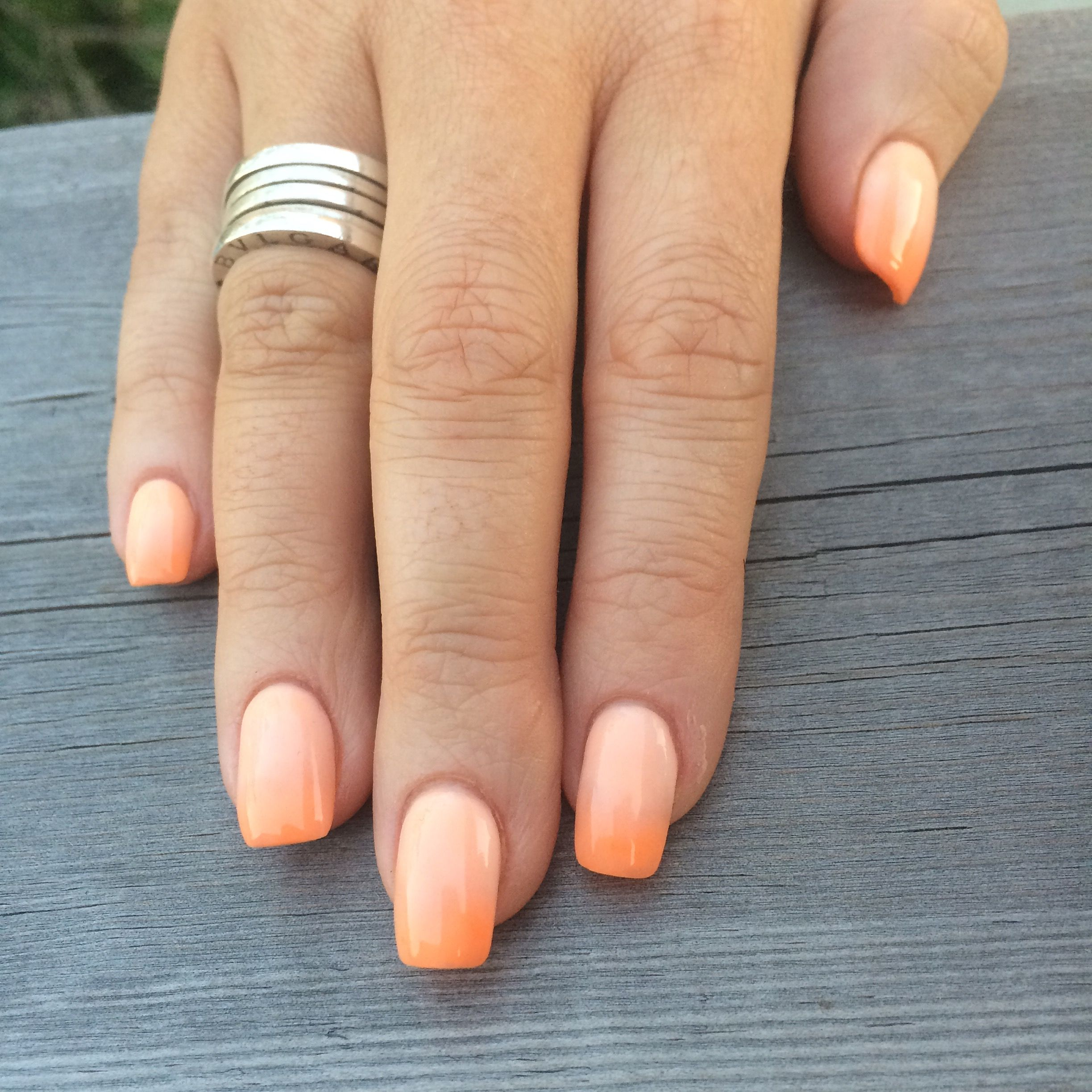 Ombré nails #ombre #nails #coral #peach #orange #square | Nails ...