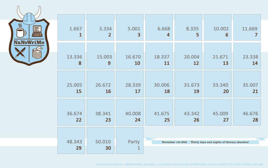 NaNoWriMo Calendar Wallpaper, All Years barmy-graphics, on