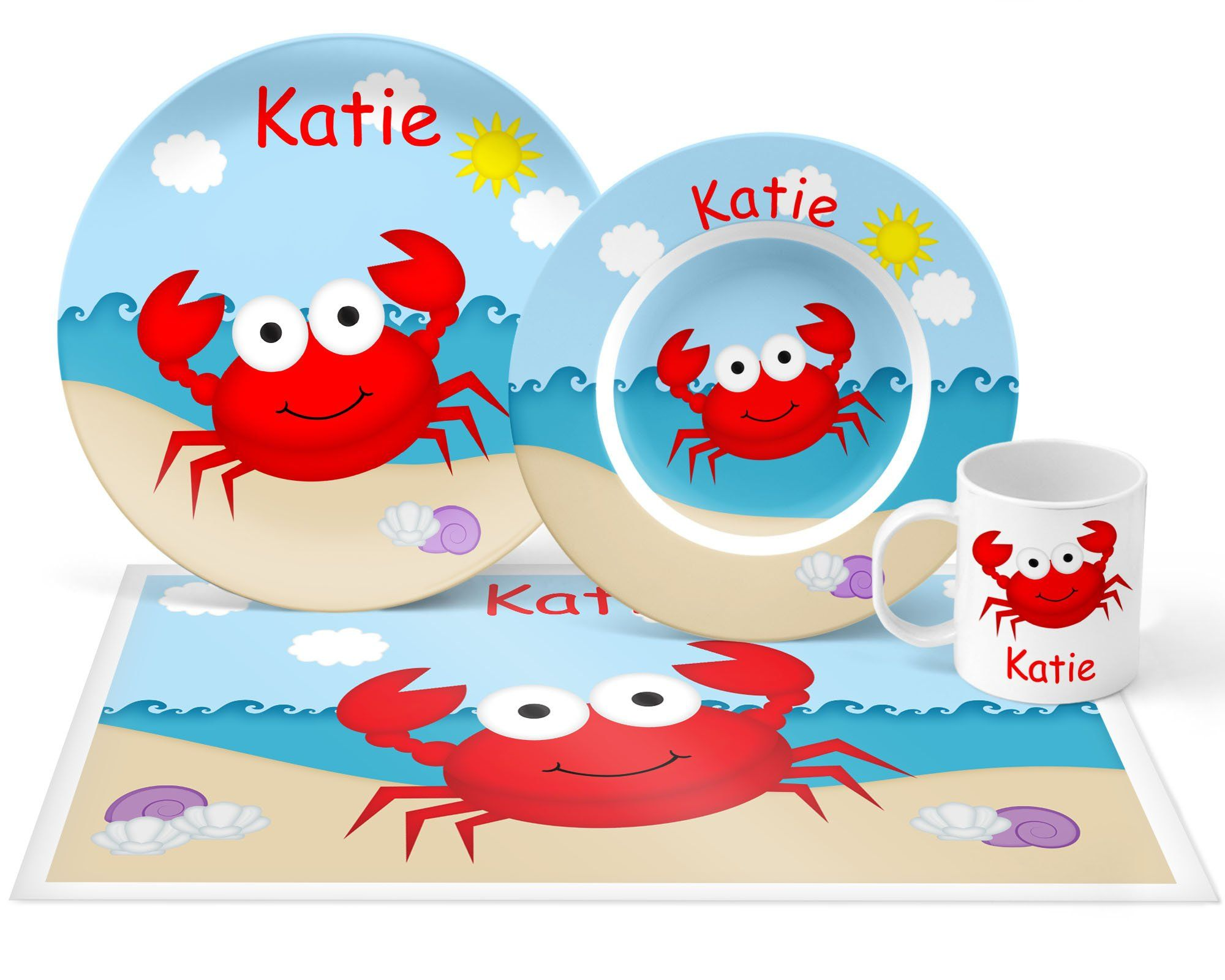 Crab Plate Set Personalized Kids Plate Bowl Mug Placemat Crab Plate Set Kids Plastic Tableware Microwave Safe With Images Kids Plates Plate Sets Personalized Plastic Plates