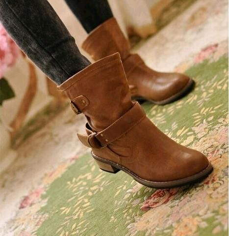 Women Fashion Low Heel Mid Boots Autumn Boots With Buckle