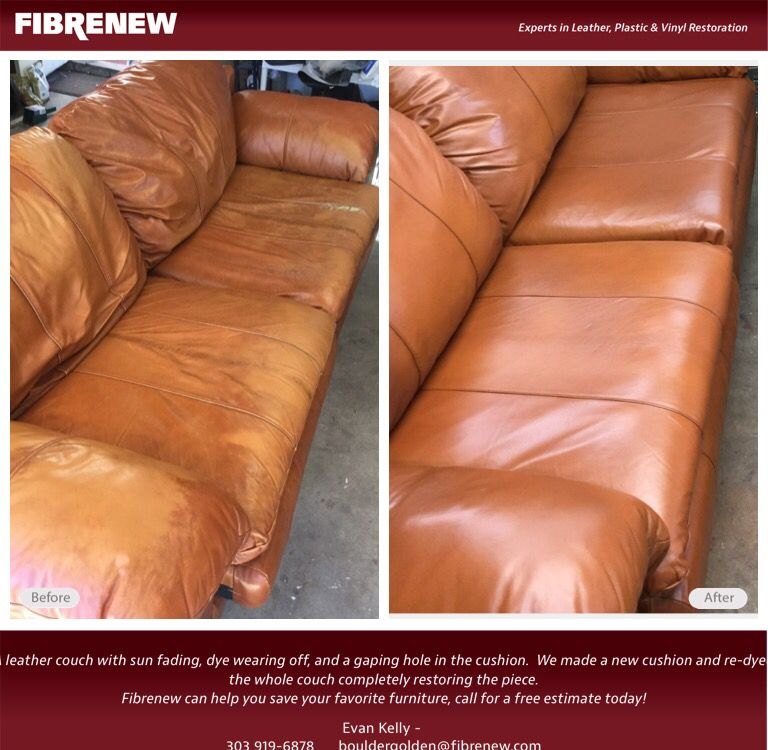 Re Your Leather Furniture With Fibrenew This Couch Had A Gaping Hole In The Cushion And Dye Wearing Off All Over Total New
