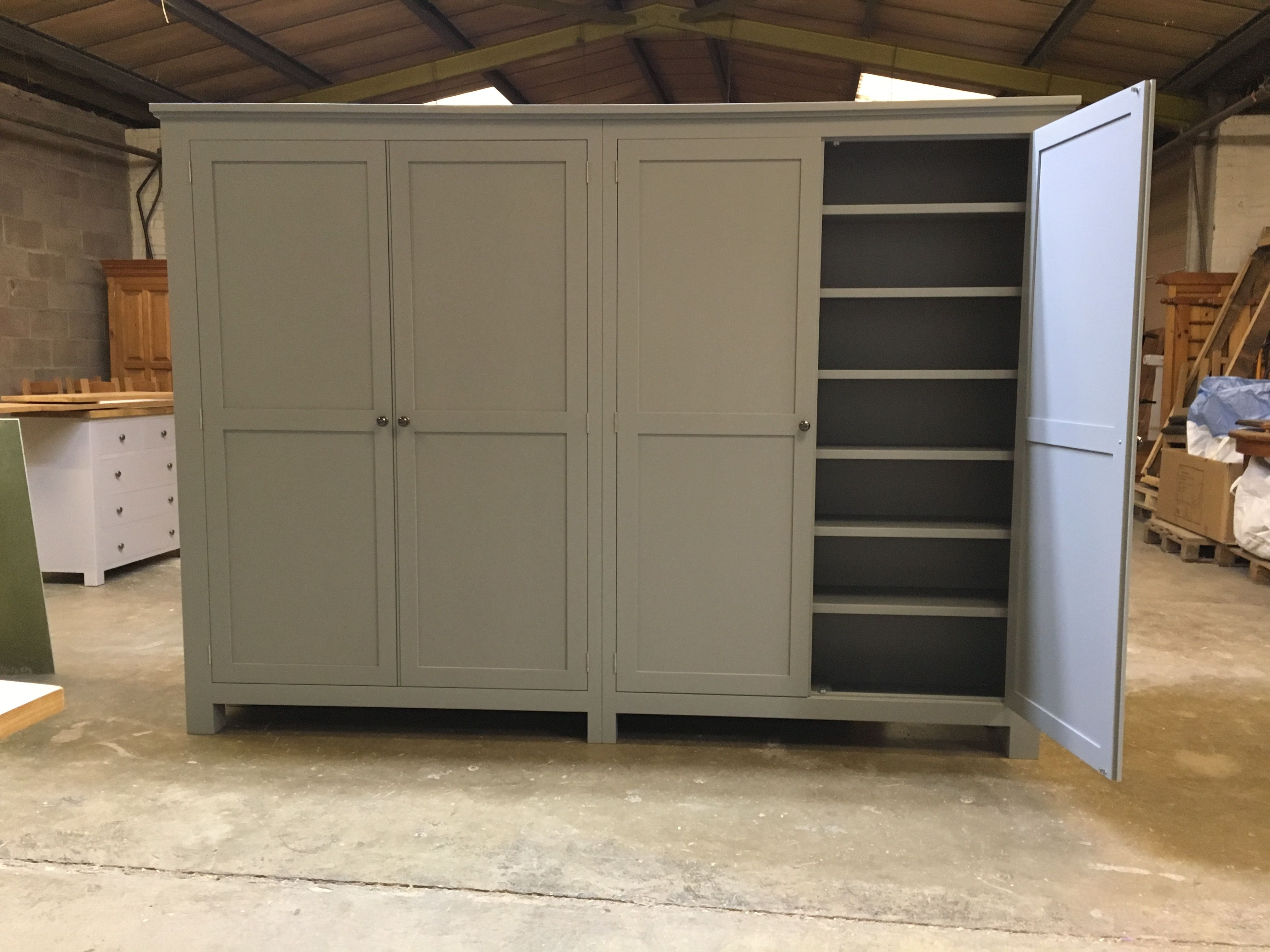 Large Linen Cupboard Painted Little Greene Mid Lead Can Be Made Any Size Or Colour Www Cobwebsfurniture Co Uk Tall Cabinet Storage Linen Cupboard Cupboard