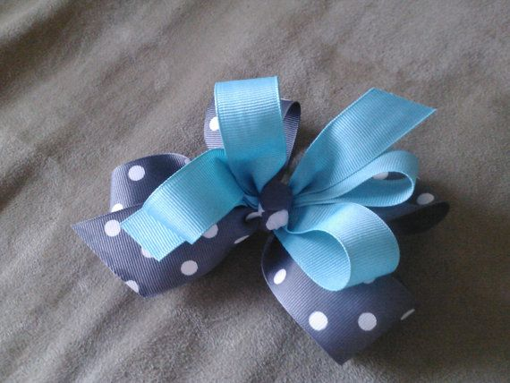 Hairbow to match Gray Chevron Dress and Aqua by AuntMonMons, $9.99