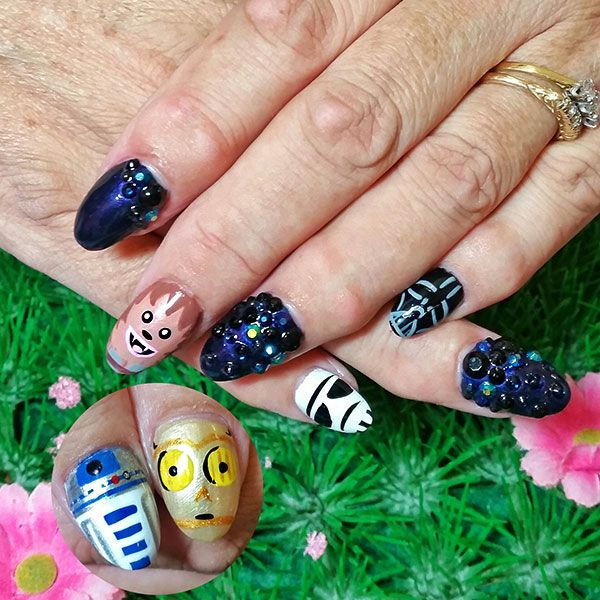 Star Wars nail art featuring Chewbacca, R2D2, C3P0, Darth Vader ...