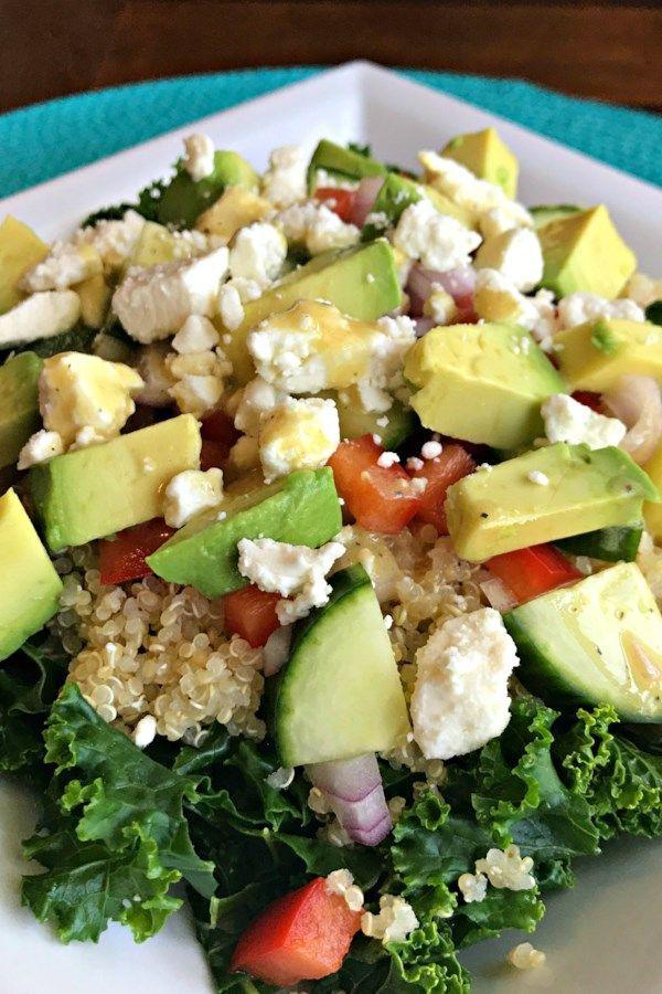 Kale, Quinoa, and Avocado Salad with Lemon Dijon Vinaigrette Recipe -