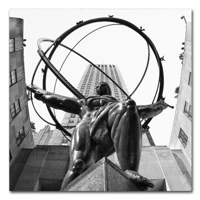 Trademark Art 'Atlas Rockefeller Center' by CATeyes Photographic Print on Wrapped Canvas Size: