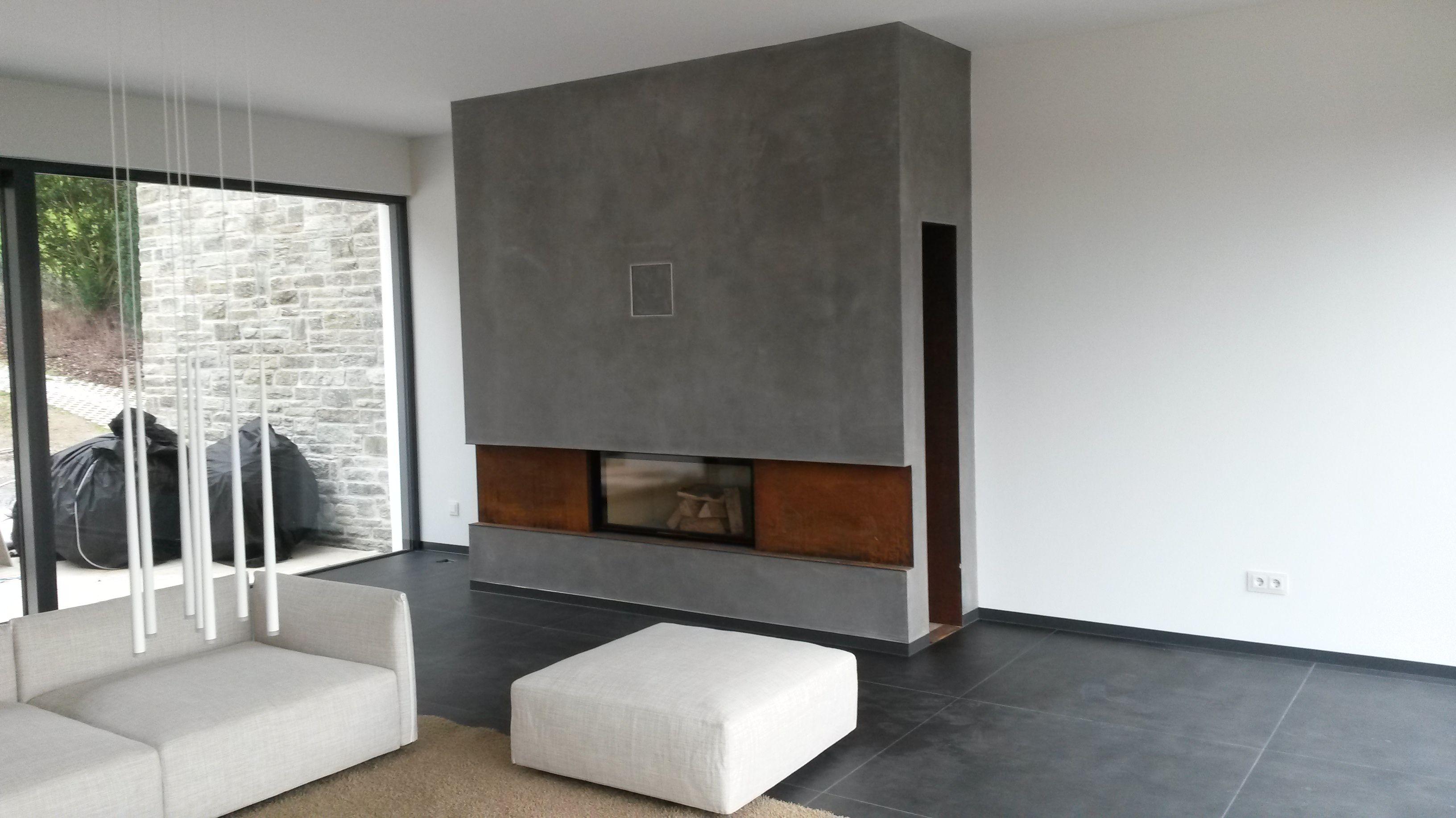 beton kamin rost cortenstahl industrie  wohnen