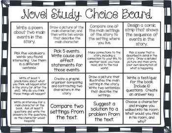 Differentiated Novel Study Choice Boards Literature Circles Novel Studies Middle School Reading Literature Circles