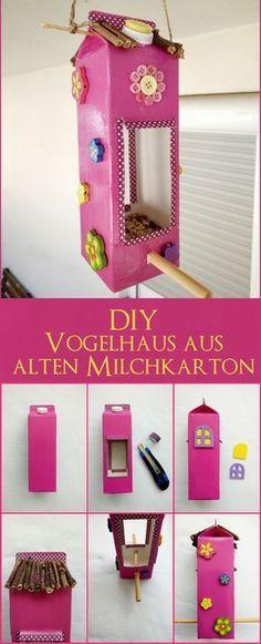 Vogelhaus aus Milchtüten basteln - Mit Kindern ein Futterhaus selbermachen - kleinliebchen #bastelideenkinder