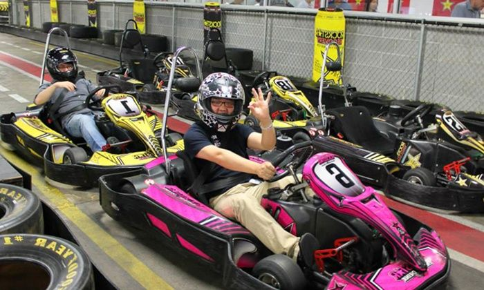 Indoor Go Kart Races Laser Tag Mini Golf And Sodas For Two Or Four At Track 21 Up To 28 Off Track 21 Go Kart Mini Golf