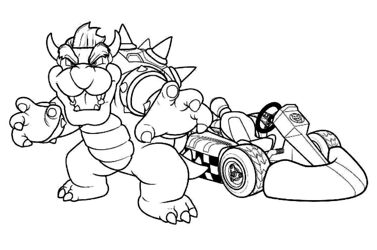 Bowser Mario Kart Racing Coloring Pages Boys Video Games Free Online And Printable