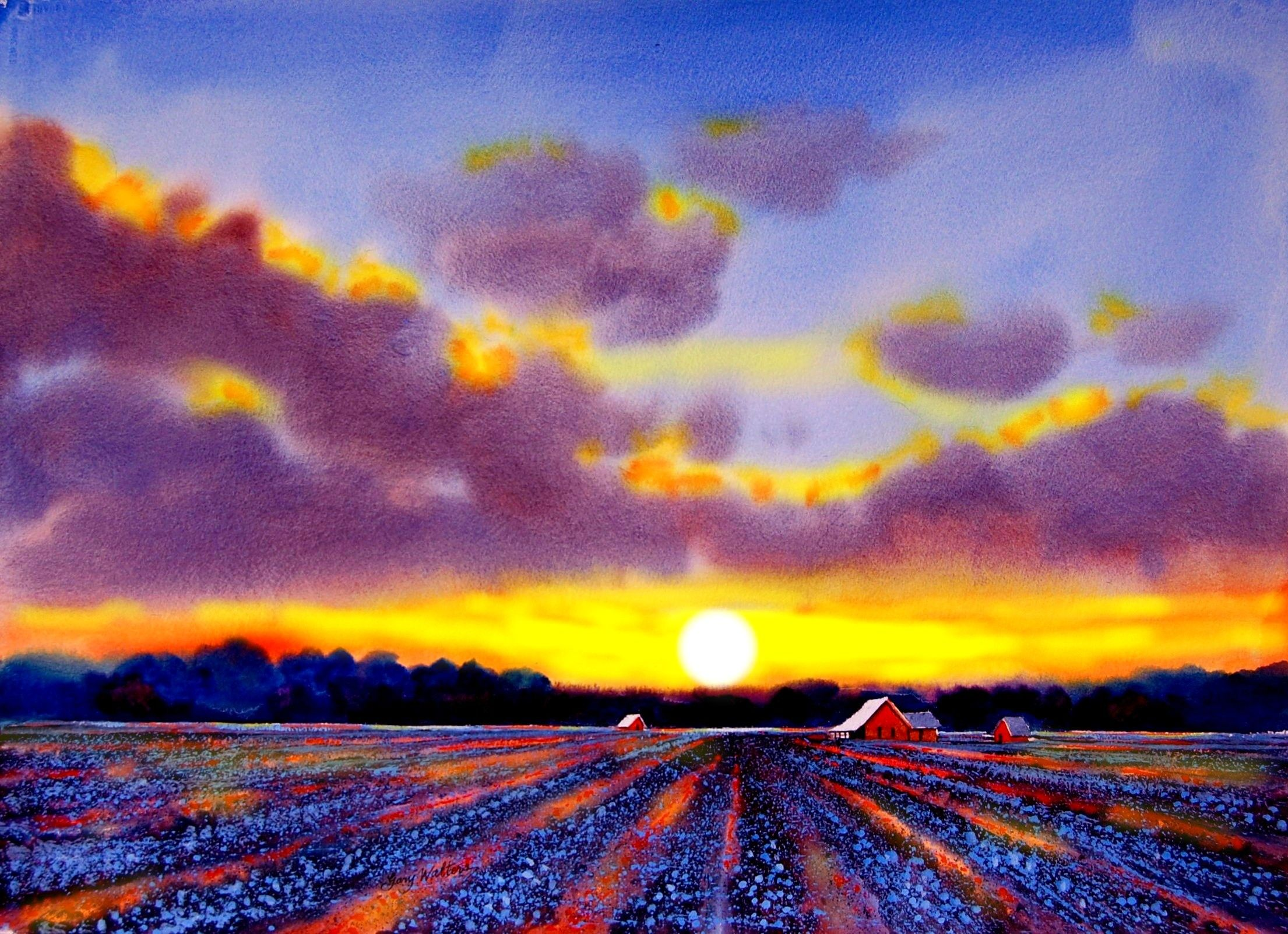 Delta Sunset Watercolor Gary Walters Watercolor Sunrise