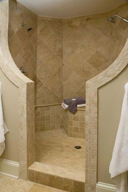 Showers without doors or curtains modern walk in shower for Master bathroom no door