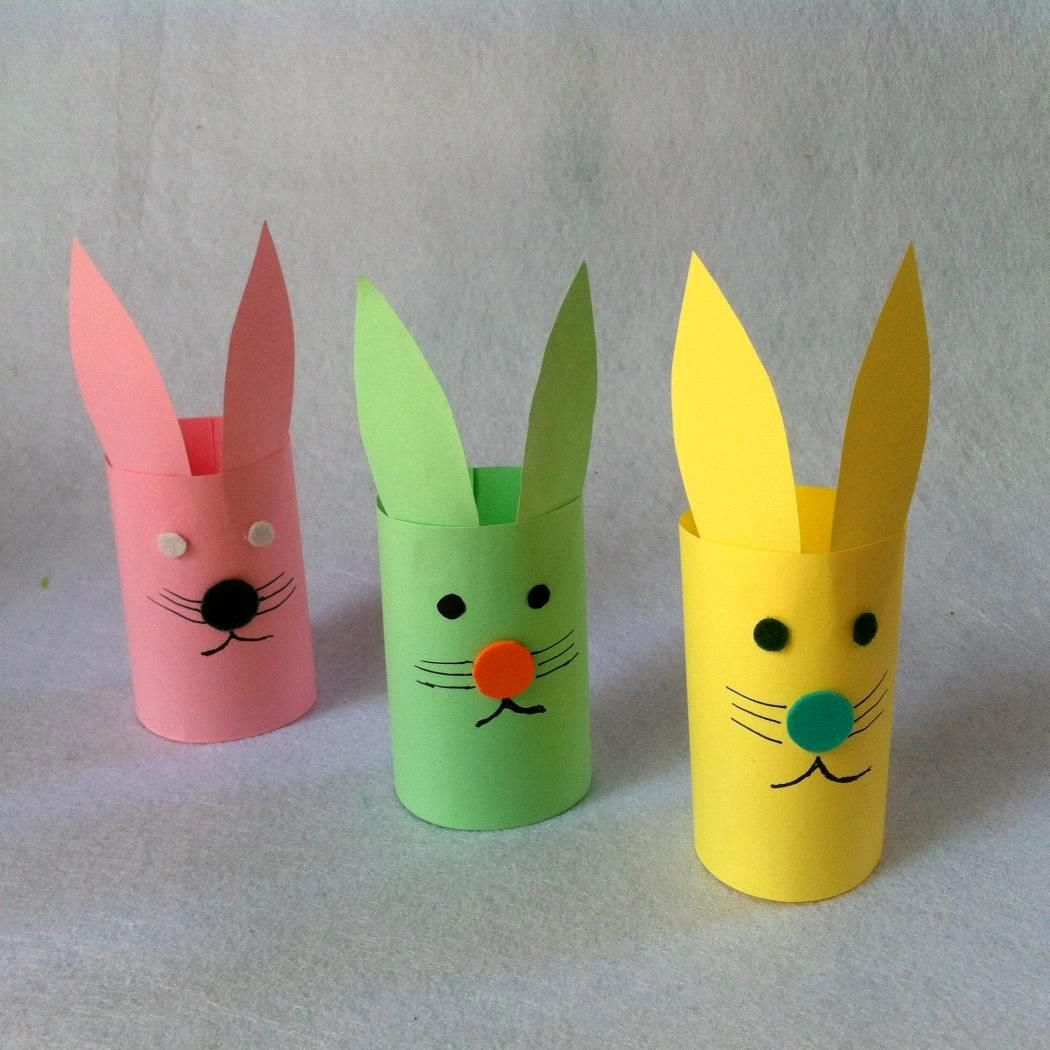 Easter paper craft ideas - Appealing Easter Craft For Kids Idea With Three Colors Paper Bunnies Crafts Idea In Yellow Green