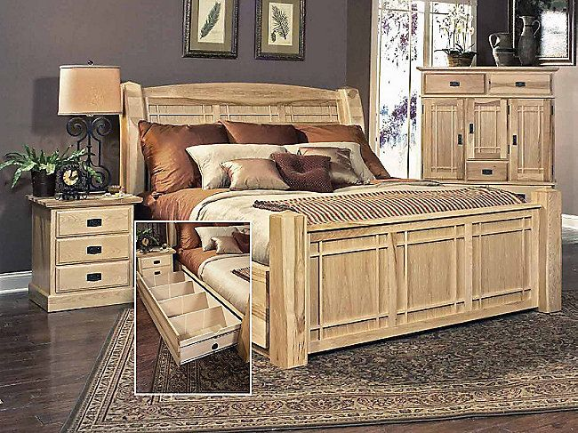 Hickory Highlands King Arch Bed With Storage Drawers Hom