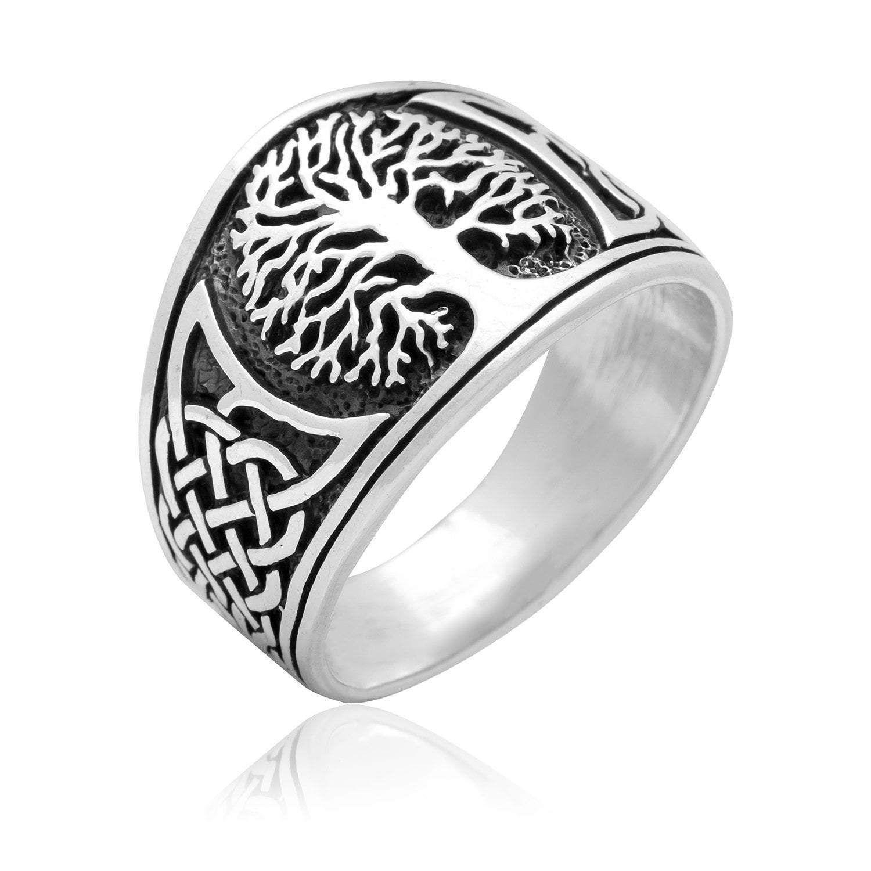 Natural Black Onyx Tree of Life Adjustable Ring