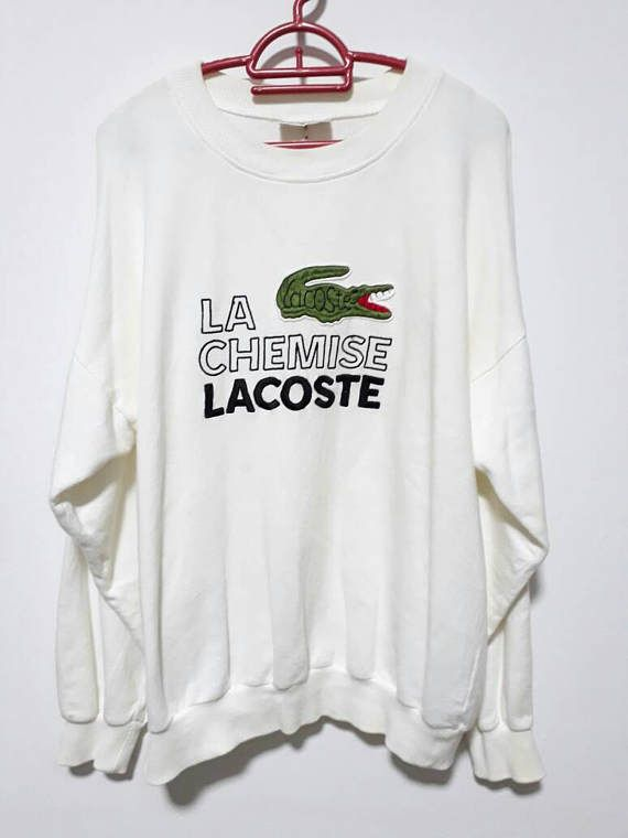 872d9b15f78ea Vintage 90s White Sweater La Chemise Lacoste embroided spellout Logo ...