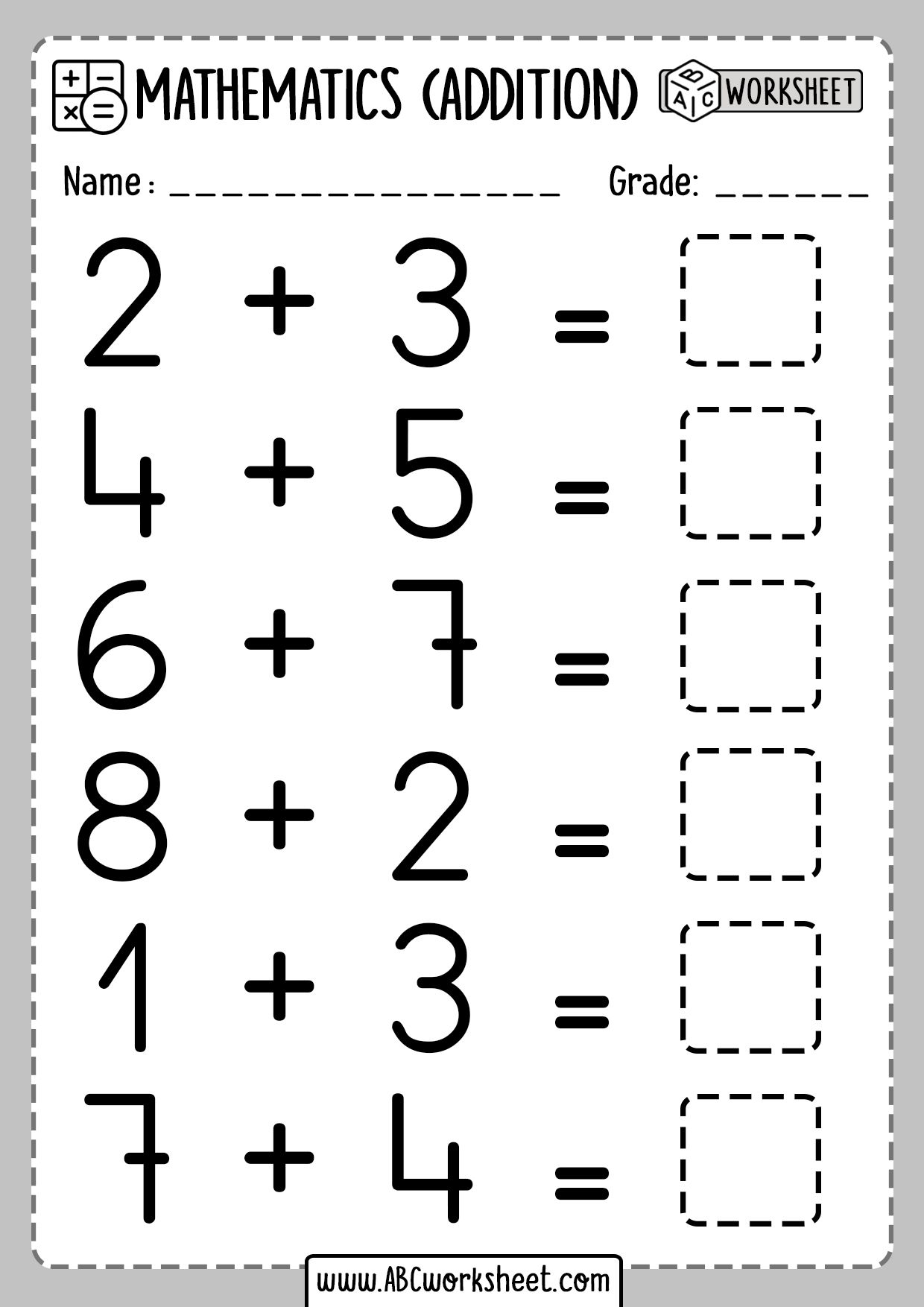 Addition Worksheets For Grade 1 In
